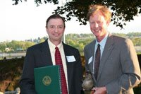 "Dr. Bern Sweeney received the Chesapeake Bay Foundation's ""Lifetime Achievement Award"" from CBF President Will Baker in 2006."