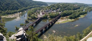 Panoramic view of Harpers Ferry taken from Maryland Heights by Mark Fickett. The Potomac River is on the right and the Shenandoah River is in the upper left.