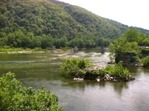 View of the mouth of the Shenandoah taken from the bridge over the Potomac River at Harper's Ferry, West Virginia.