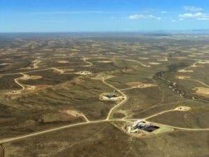 Aereal view of hydrofracking wells from Safewatermovement.org