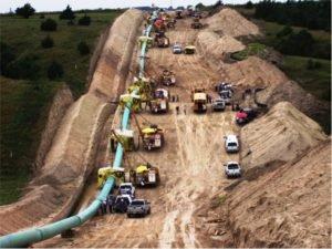 Natural gas pipeline construction in Nebraska.