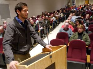 Area resident John Geary, who owns a farm that is on one of the current proposed routes for Dominion's Atlantic Coast Pipeline, speaks about his concerns Thursday, March 19, 2015, at the FERC scoping meeting at Stuarts Draft High School. (Photo: Randall K. Wolf/The News Leader)