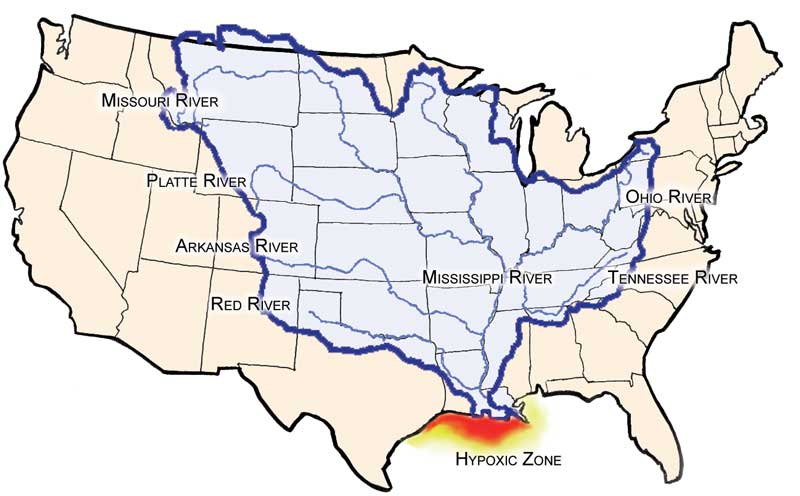 "The Mississippi watershed is in blue, home to the top ten soybean states in the US. The ""Hypoxic Zone"" is the second largest dead zone in the world and is growing in size."