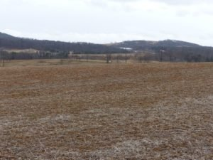 Soybean field in March. Fifty percent of the field is bare.