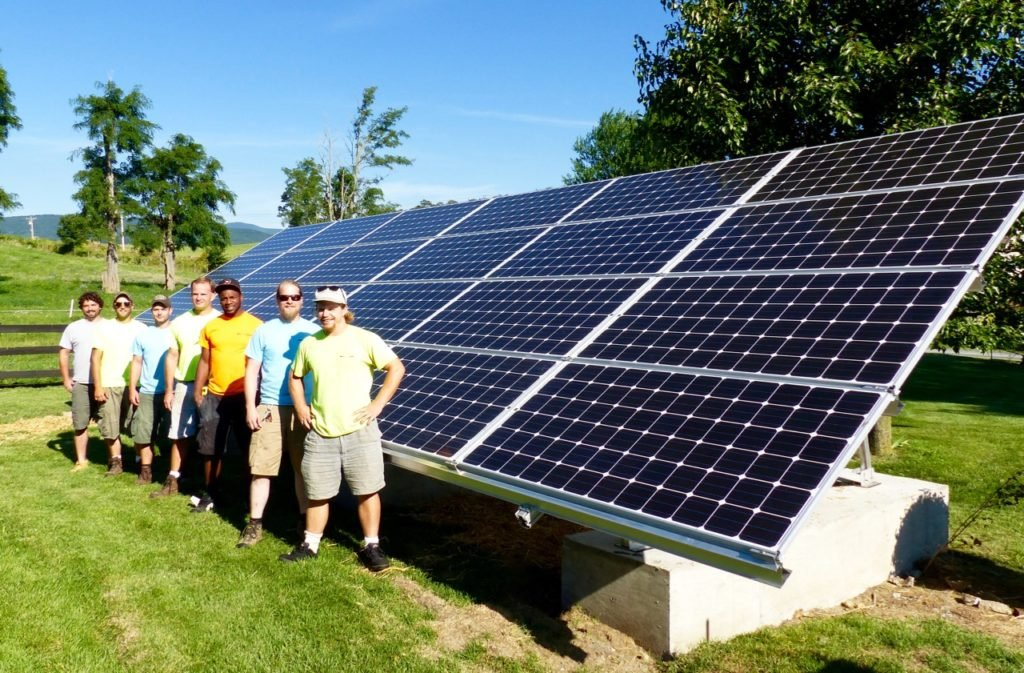 Solar Ground Array at Meadow View with Altenergy Staunton crew