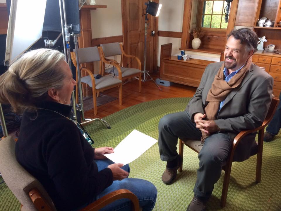 Producer Deidra Dain interviews forest ecologist, Dr. H. Bruce Rinker for the film