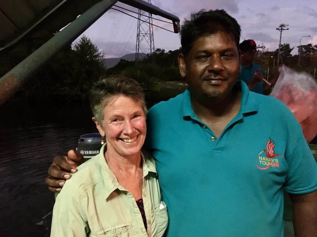 Jeanne with Lester Nanan in the Caroni Swamp 2020.