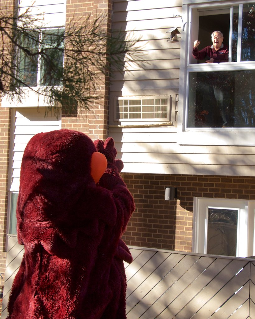The Hokie Bird gives a cheer to my Dad