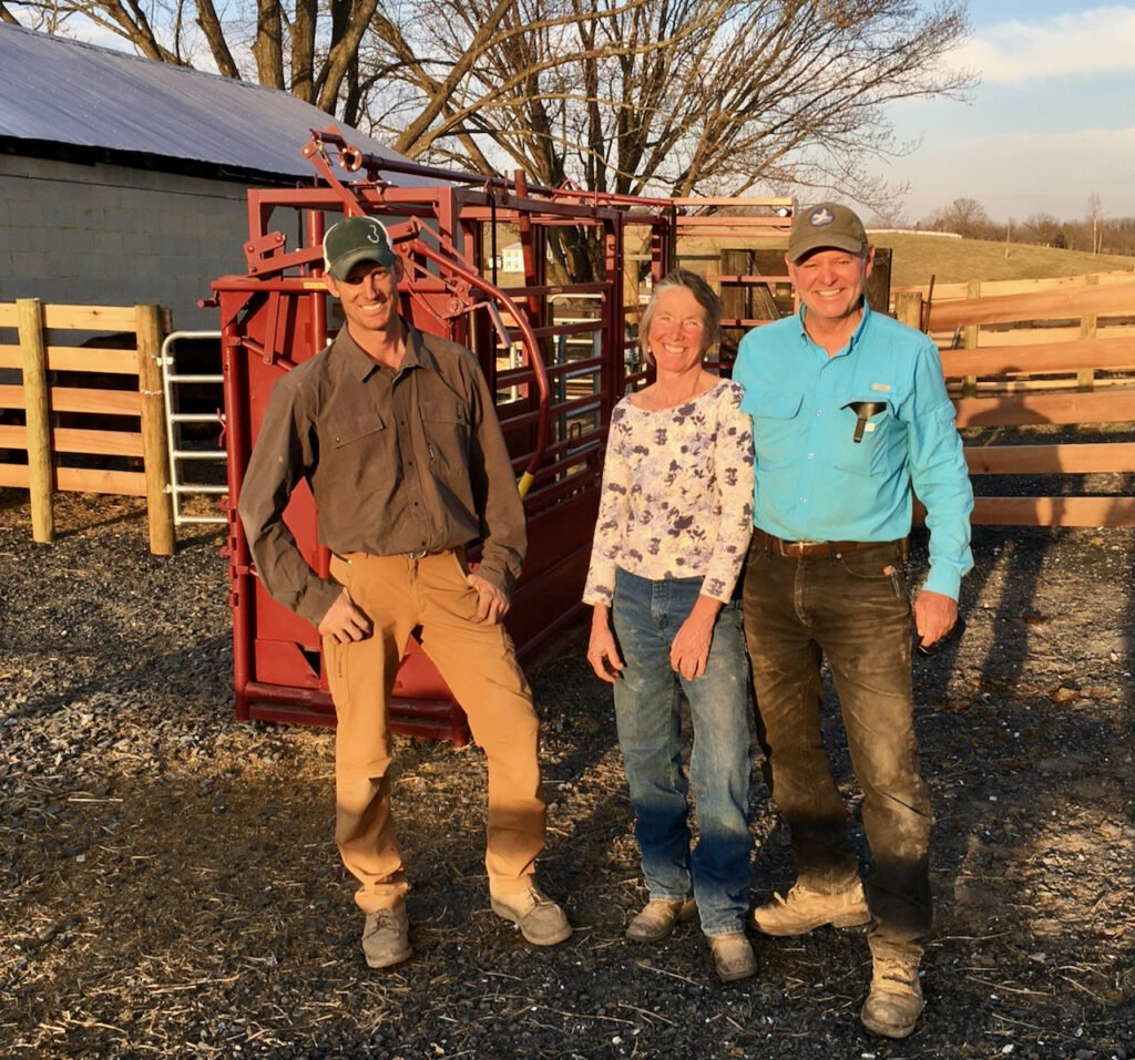 Jake Wilson joins Jeanne and Bobby at the completion of the fencing projects at Whiskey Creek Angus.